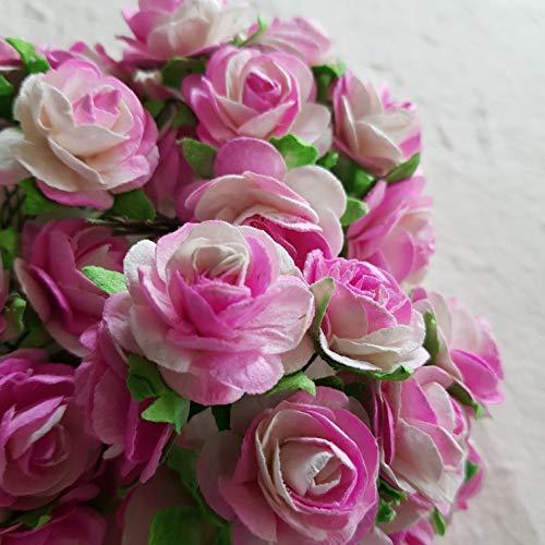 DOWDEGDEE 50 pcs Handmade Mulberry Paper Rose Flower 2 cm Craft Scrapbooking Scrapbook Bow Wedding Doll House Supplies Card Light Pink