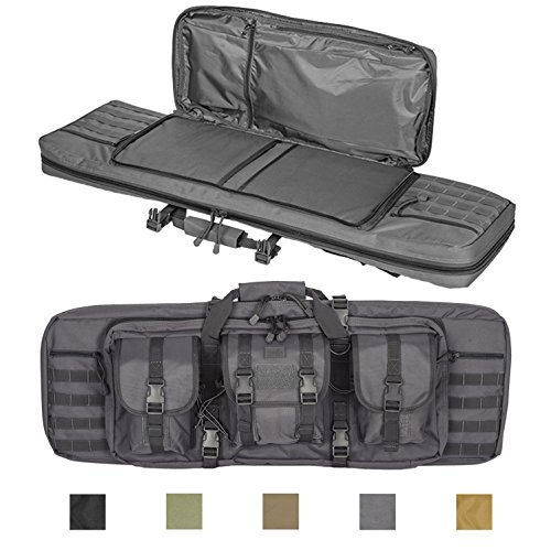 Lancer Tactical 36-inch 600 Denier Polyester Double Carbine Soft Case Accessory Pouches MOLLE Webbing 25-inch Secondary Compartment Quick Detach Buckles Inner Storage Backpack Straps - DISRUPTIVE GRAY (Boyt Nylon Backpack)
