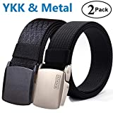 Fairwin Men's Military Tactical Web Belt, Nylon Canvas Webbing YKK Plastic Buckle Belt (Black&Black)