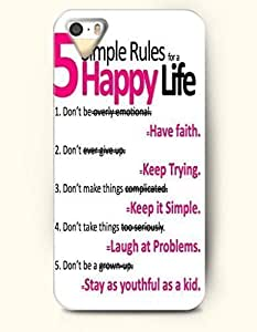 For SamSung Galaxy S4 Phone Case Cover Hard with Design 5 Simple Rules For A Happy Life Have Faith Keep Trying Keep It Simple Laugh At Problems Stay As Youthful As A Kid.- Proverbs Of Life - For SamSung Galaxy S4 Phone Case Cover