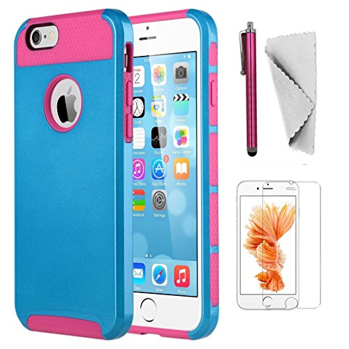 iPhone 6 Plus/6s Plus case KXLY 2 in 1 Hybrid Heavy Duty Shockproof Protective Cover Hard PC Rugged Soft TPU Bumper Dual Layer+Screen Protector+Stylus[Dark Blue-Hot (Hot Pink Protector Case)