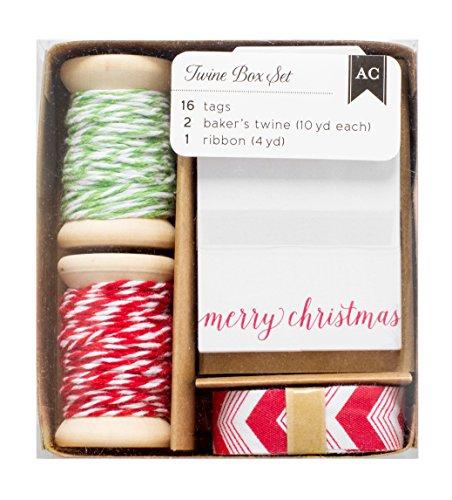 American Crafts Twine Boxes 16 Tags, 2 Twine Spools (10 Yards Each), 1 Ribbon (4 Yards), Black/White/Kraft
