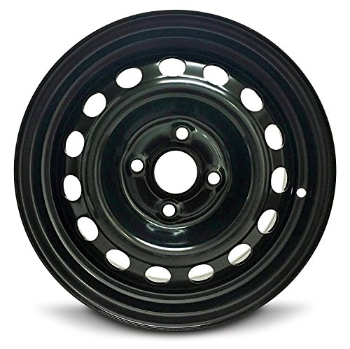 Black Tire Steel - Road Ready Car Wheel For 2012-2017 Hyundai Accent 14 Inch 4 Lug Black Steel Rim Fits R14 Tire - Exact OEM Replacement - Full-Size Spare