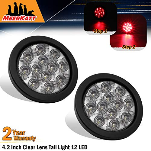 Meerkatt (Pack of 2) 4 Inch Round Clear Lens Red LED Sealed Clearance Lamp Marker Indicator Lights Brake Stop Truck Trailer Tow Caravan Camper Bus Van Pickup Kit Include Black Resin & Plug 12v DC GA12