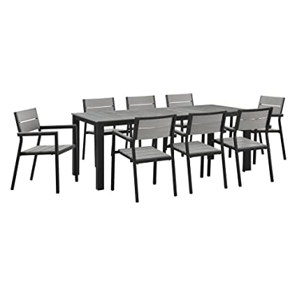 Modway Maine 9-Piece Aluminum Dining Table and Chair Outdoor Patio Set in  Brown Gray - Amazon.com : Modway Maine 9-Piece Aluminum Dining Table And Chair