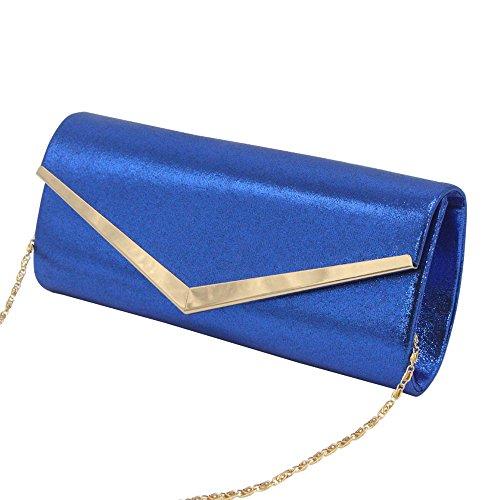 Handbag Envelope Clutch Wiwsi Women Sized Purse Bag Silver Medium Fashion Royal Trim Classic Blue w4TxgH