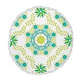 KESS InHouse Anneline Sophia Let's Dance Green Teal Floral Round Beach Towel Blanket