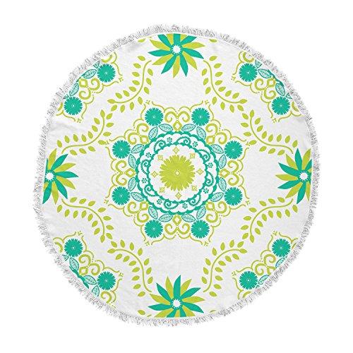 KESS InHouse Anneline Sophia Let's Dance Green Teal Floral Round Beach Towel Blanket by Kess InHouse