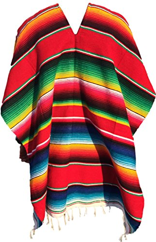 [Authentic Mexican Poncho (Multiple Colors Available) (Red)] (Pancho Villa Costumes)