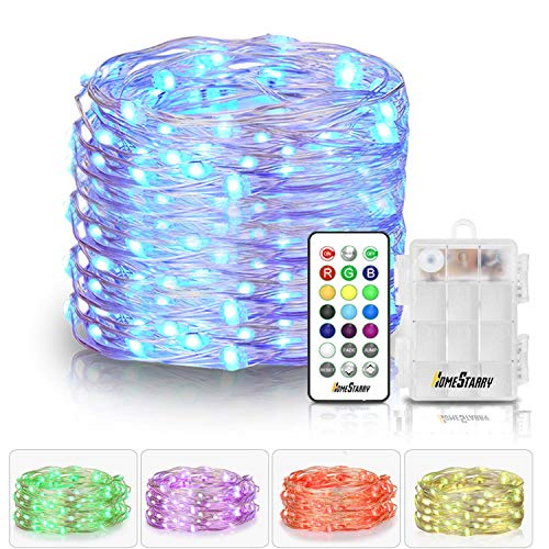 Homestarry LED Multi Color Fairy String Lights with Remote 6 AA Battery Powered Firefly 33 ft 100 LEDs Twinkle Lights for Bedroom Party Decoration Wedding,13 Colors Option
