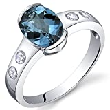 Elegant 1.50 carats London Blue Topaz Half Bezel Solitaire Ring in Sterling Silver Rhodium Nickel Finish Sizes 5 to 9