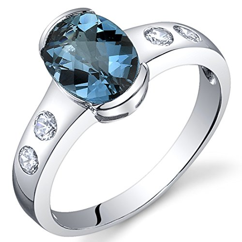 (Elegant 1.50 carats London Blue Topaz Half Bezel Solitaire Ring in Sterling Silver Rhodium Nickel Finish Size 6 )