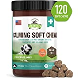 Calming Treats for Dogs - 120 Chews, Grain-Free Dog Treats Made in USA - Pet Stress Relief, Dog Separation Anxiety Relief, Natural Calm Aid Supplement for Composure Anti Barking Motion Sickness Storms