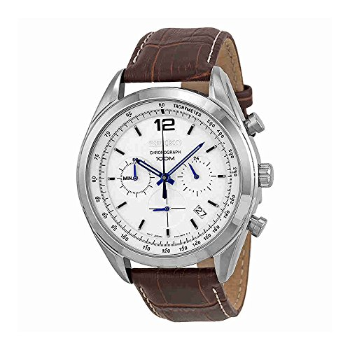 Seiko-Chronograph-White-Dial-Stainless-Steel-Brown-Leather-Mens-Watch-SSB095