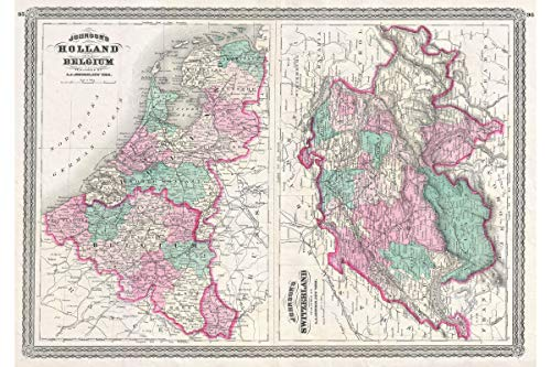 nd, Belgium, and Switzerland - 1870 Johnson Map - 1st Quality Antique Replica - 24 x 36 inches ()