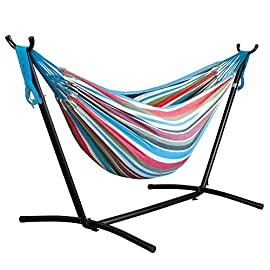 Driftsun Space Saving Patio and Lawn Portable Hammock with Steel Stand. 2 Person 450 Pound Capacity Camping Hammock (Tropical)