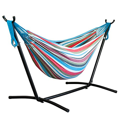 Driftsun Double Hammock with Steel Stand - Space Saving Two Person Lawn and Patio Portable Hammock with Tavel Case (Rainbow)