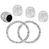 4PCS Crystal Rhinestone Universal Stem Covers with 2Pcs Car Decor Crystal Rhinestone Bling Sticker Emblem Ring for Car Engine Ignition Button Key & Knobs, Unique Gift (Silver) …
