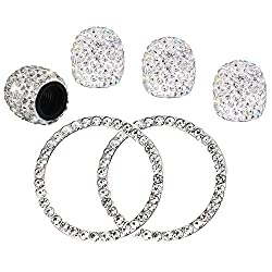 Crystal Rhinestone Universal Stem Covers and Ring