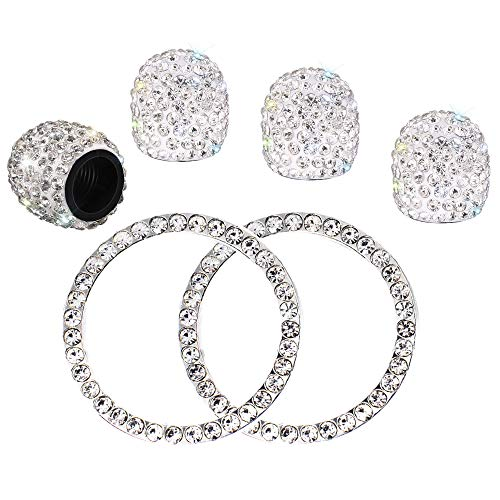 4PCS Crystal Rhinestone Universal Stem Covers with 2Pcs Car Decor Crystal Rhinestone Bling Sticker Emblem Ring for Car Engine Ignition Button Key & Knobs, Unique Gift (Silver) ()