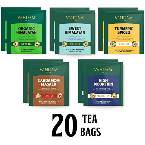 S/ü/ßer Himalaya Gr/üner Tee 5 Tees Detox Tee Sortiment 4 Tea Bags Kurkuma Gew/ürz VAHDAM Kardamom Spiced Chai /& High Mountain Oolong Tee 20 teebeutel f/ür losen tee Bio Himalaya Gr/üner Tee