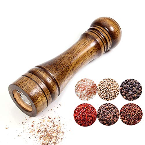 Salt And Pepper Mill 2 Piece Set,Solid Wood Pepper Mills With Strong Adjustable Ceramic Grinder 5