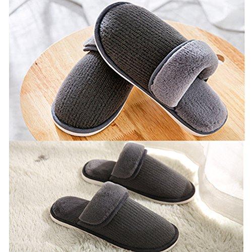 Eagsouni Womens Mens Winter Warm Slippers Couples Home Plush Knitted Indoor House Floor Anti-Slip Shoes Dark Grey aV7K8ww2