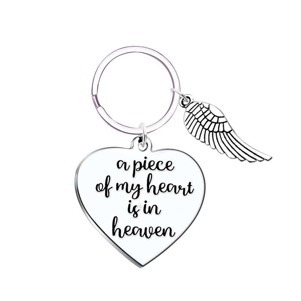 Memorial Keychain Sympathy Gift- A Piece of my Heart is in Heaven Angel Wings