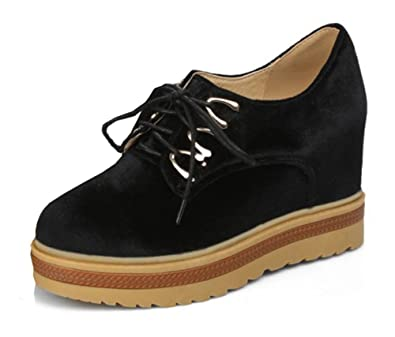 3c25eb4e339b SFNLD Women s Sexy Platform Lace Up High Hidden Heel Sneakers Black 4 B(M)