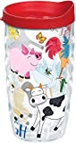 Tervis 1223247 Farm Animals - Group Tumbler with Wrap and Red Lid 10oz Wavy, Clear