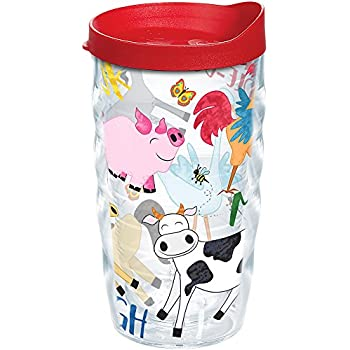 Tritan Clear Tervis 1319410 Delaware Hens All Over Insulated Travel Tumbler with Wrap and Blue Lid 24oz