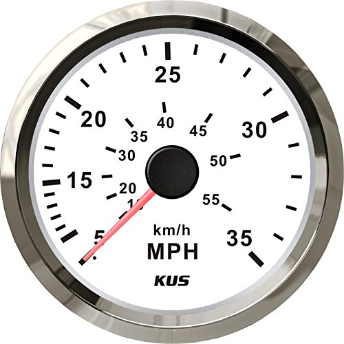 KUS DN85mm White 0-35MPH Speedometer with Pitot Tube PN: KY18102 (White) ()