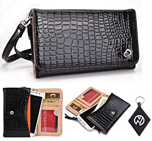 Black Croc Wallet Clutch Carrying Cover Case for Motorola Moto X with Built-In Credit Card Slots and Detachable Handstrap + NuVur ™ Keychain (ESMXDVK1)