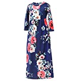 MHJY Maxi Floral Dress for Girls Long Flower Dress with Pockets for 5-12 Years Toddler Teens 3/4 Sleeve Summer Boho Maxi Dress for Beach Holiday Party Casual