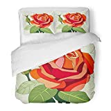 Emvency Bedding 3 Pieces Duvet Cover Set Green Flower Stained Glass Window Orange Rose Nature Beautiful Blossom Botany Bright Print Brushed Microfiber Fabric Full/Queen Size Sets