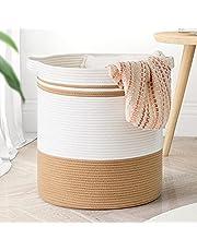 "Goodpick Cotton Rope Basket, 18""×16"" Laundry Hamper Basket Large Storage Basket with Handles Woven Wicker Basket for Throws Pillows Blanket Basket for Living Room Toy Basket for Nursery Décor"