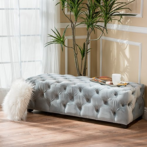 Great Deal Furniture 298424 Provence Light Grey Tufted Velvet Fabric Rectangle Ottoman - Round Tufted Grey Ottoman