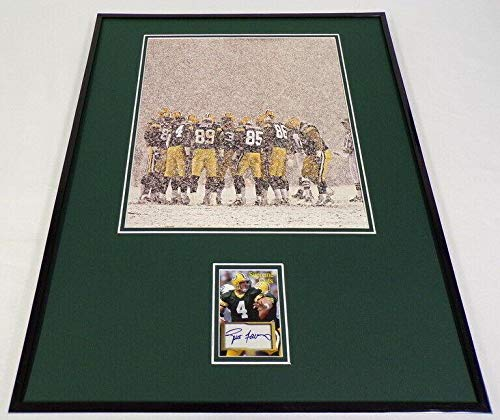 Autographed Favre Photograph - Facsimile Framed 16x20 Snow Display - Autographed NFL Photos