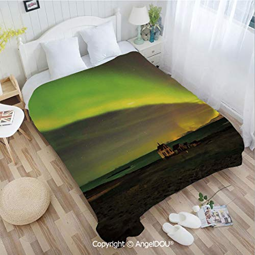 AngelDOU Warm air Conditioner Flannel Blanket W31 xL47 Celestial Show on Abandoned House in Aurora Borealis Print for Bed Cover Sofa car use.