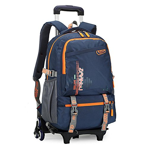 Boys and girls Students Polyester Oxford Cloth Trolley Bag Double Shoulder Backpack Hand Pull Box