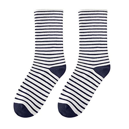 BCDshop Women Stripe Socks Mid Tube Socks Cotton Retro Winter Spring Fall Sock Anklet High(Navy) ()