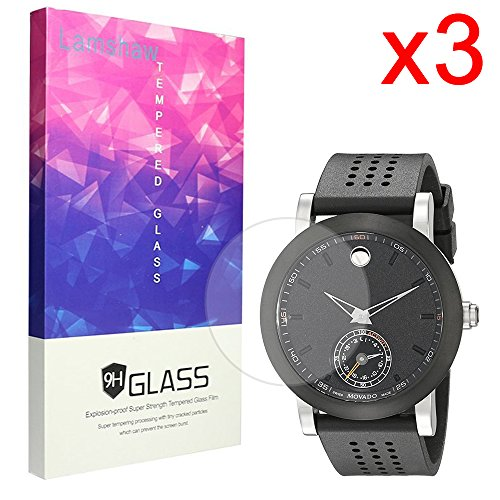 Lamshaw 9H Tempered Glass Screen Protector for Movado Men's 0660003 Swiss Quartz Black Smartwatch (3 pack) by Lamshaw