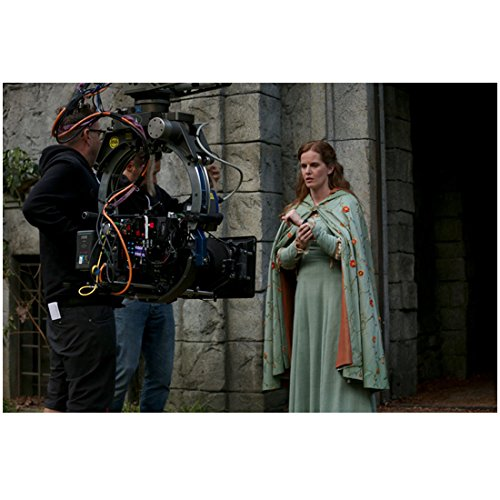 (Rebecca Mader Once Upon a Time in dress and cape with crew members outside stone wall 8 x 10 Inch Photo)