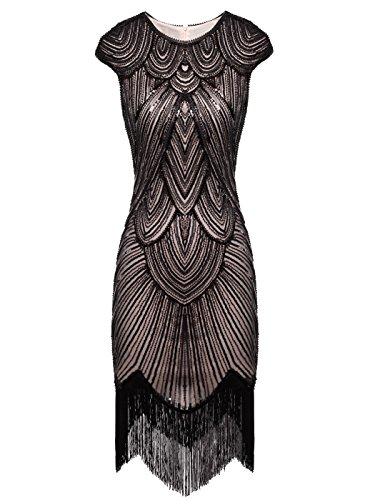 Kleid Flapper Quasten FAIRY D20S002 Falten 1920 verschönert Pailletten Beige COUPLE schwarz Dunkel YIqfIw0