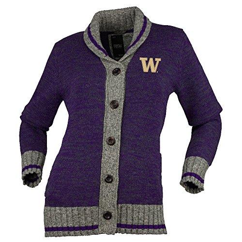 NCAA Washington Huskies Womens Her Work Sock Button Upher Work Sock Button Up, Purple Mix, Large