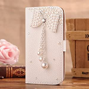 1X NE3C(TM) Apple iPhone 4 4s Leather Folio Support Smart Case Cover With Card Holder & Magnetic Flip Horizontals - Bowknot Flower