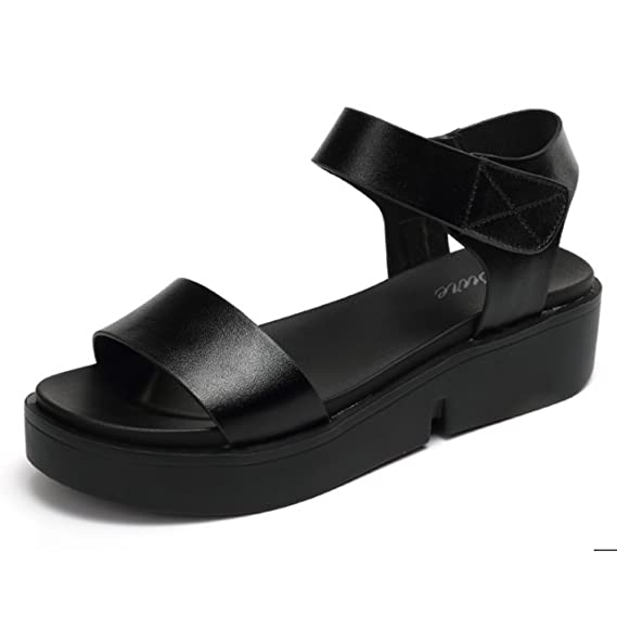 Gemütlich Wildes mit Sandalen Römische Sandalen Leder einfach mit Studenten flache Sandalen Weibliche Sommer Pantoffeln (2 Farben optional) (Größe optional) Erhöht ( Farbe : A , größe : 38.39 )