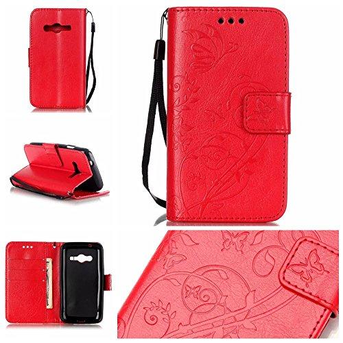 JIALUN-Personality teléfono shell Samsung G313 estuche, caja de cuero de la PU superior Folio Flip estuche caja de la flor en relieve para Samsung G313 Seguridad y Moda ( Color : Blue , Size : Samsung Red