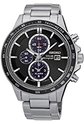 Seiko Solar Chronograph SSC435 Black Dial Stainless Steel Men's Watch