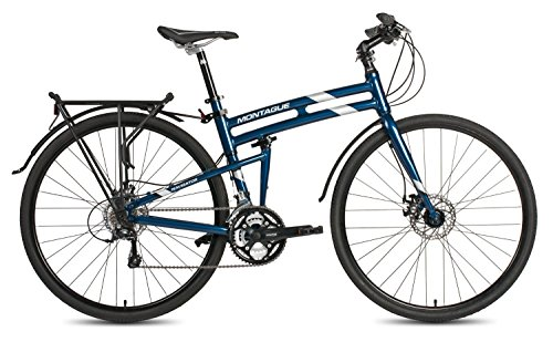 New 2017 Montague Navigator Folding 700c Hybrid Bike Midnight Blue 21